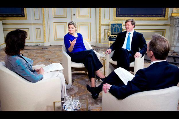 Maxima et Willem-Alexander lors de l'interview.