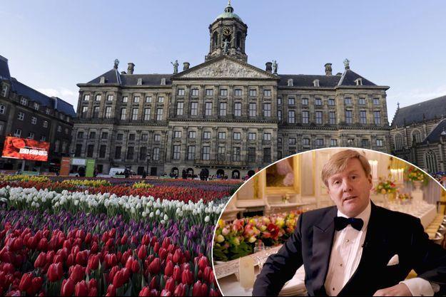Le roi Willem-Alexander des Pays-Bas en vignette sur une photo du Palais royal d'Amsterdam