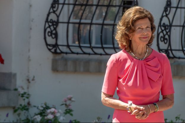 La reine Silvia de Suède au palais de Solliden sur l'île d'Öland, le 14 juillet 2019
