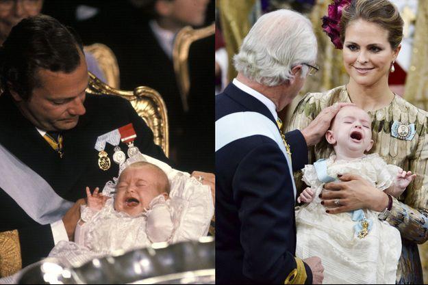 Le baptême de la princesse Madeleine de Suède le 31 août 1982 et celui du prince Nicolas, son fils, le 11 octobre 2015