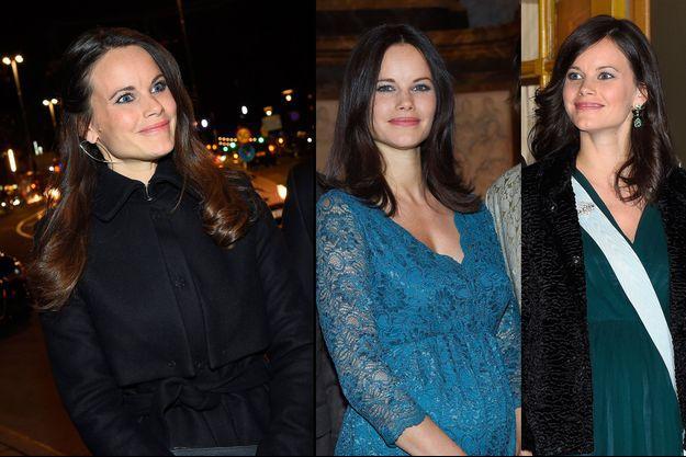 La princesse Sofia de Suède le 27 novembre 2015 (à gauche) et avec sa nouvelle coupe de cheveux le 20 décembre (à droite) et le 21 décembre 2015 (au centre)