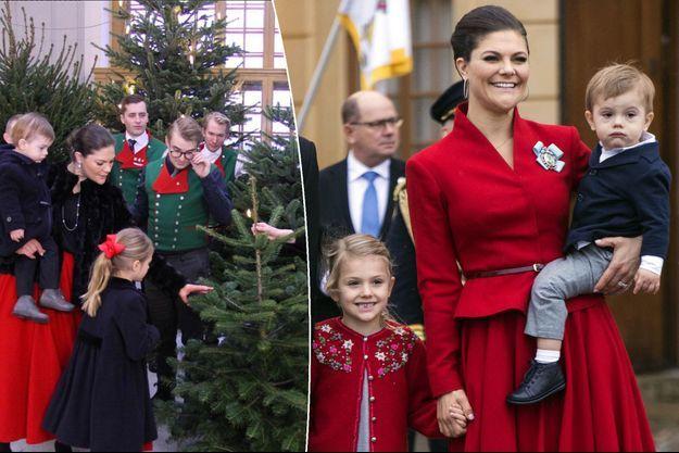 La princesse Victoria de Suède et ses enfants à Stockholm, le 1er décembre 2017. A gauche, le 14 décembre 2017