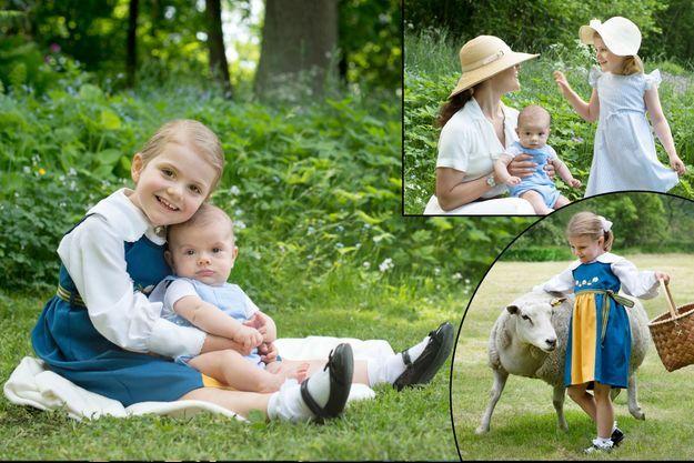La princesse Victoria de Suède et ses enfants le prince Oscar et la princesse Estelle, le 6 juin 2016