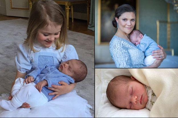Une nouvelle photographie du prince Oscar de Suède, avec sa soeur la princesse Estelle, (à gauche) s'ajoute aux deux précédentes déjà dévoilées (à droite)