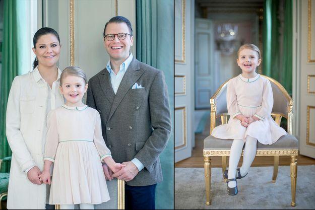 Les deux photos officielles de la princesse Estelle de Suède pour ses 4 ans, seule et avec ses parents la princesse Victoria et le prince Daniel