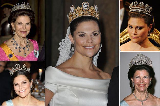 La reine Silvia et la princesse héritière Victoria de Suède, coiffées de diadèmes de la famille royale de Suède