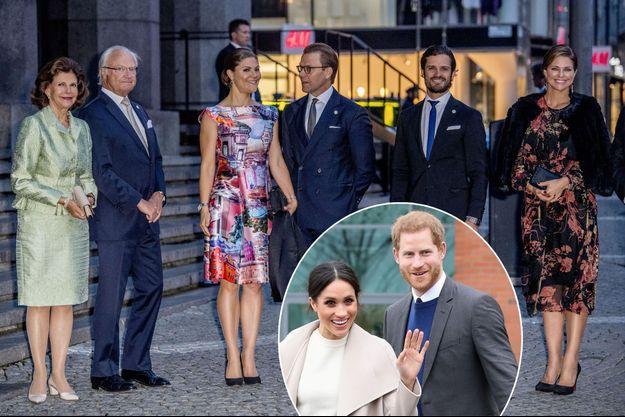 La famille royale de Suède à Stockholm le 12 septembre 2017. En vignette : le prince Harry et Meghan Markle le 23 mars 2018