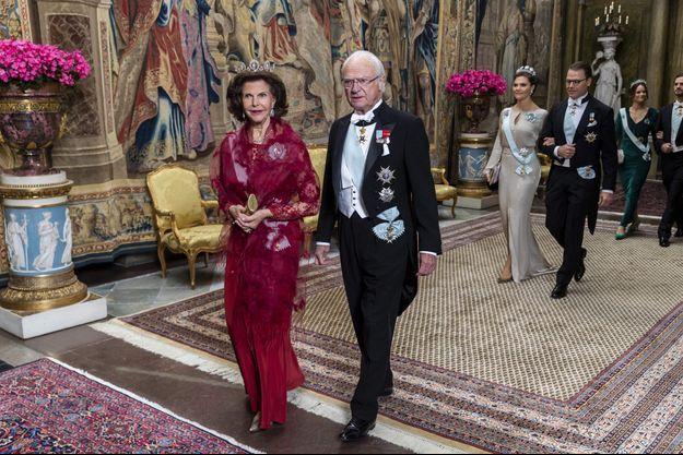 """La famille royale de Suède lors du précédent """"representationsmiddag"""" à Stockholm, le 12 novembre 2019"""