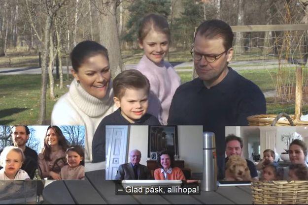 La famille royale de Suède se souhaite joyeuses Pâques en visioconférence. Capture de la vidéo diffusée le 11 avril 2020