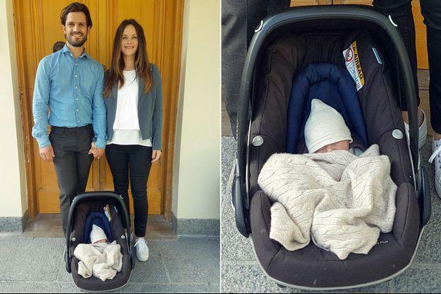 Le prince Carl Philip et la princesse Sofia de Suède avec leur deuxième fils, âgé de 1 jour, à l'hôpital de Danderyd, le 1er septembre 2017