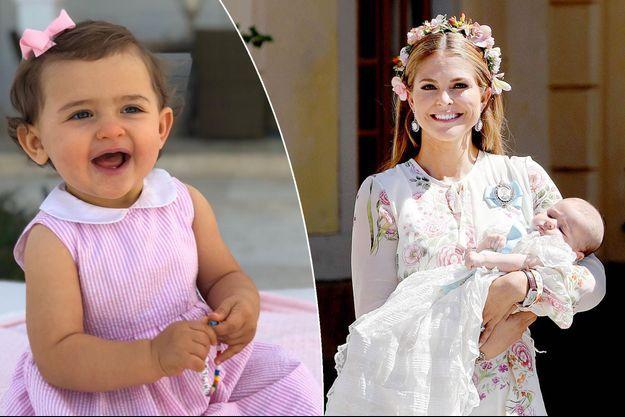 La princesse Adrienne de Suède. Photo diffusée pour ses 1 an, le 9 mars 2019. A droite, avec sa maman la princesse Madeleine, le jour de son baptême, le 8 juin 2018
