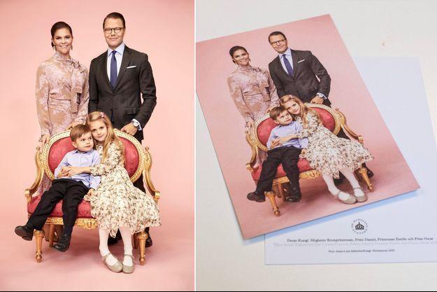 Nouveau portrait de famille de la princesse héritière Victoria de Suède. A droite, la carte postale réalisée à partir de cette photo