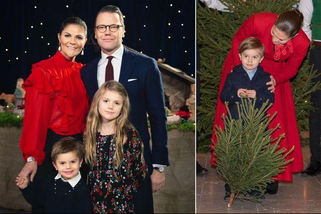 La princesse Victoria de Suède, le prince Daniel et leurs enfants la princesse Estelle et le prince Oscar, décembre 2019. A droite, la princesse Victoria et le prince Oscar, le 18 décembre 2019