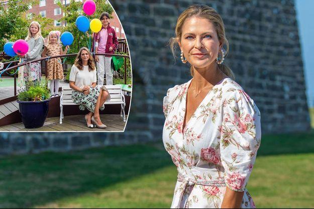La princesse Madeleine de Suède au château de Borgholm, le 14 juillet 2021. En vignette, à l'hôpital pour enfants Astrid Lindgren de l'hôpital universitaire Karolinska de Solna, le 10 août 2021