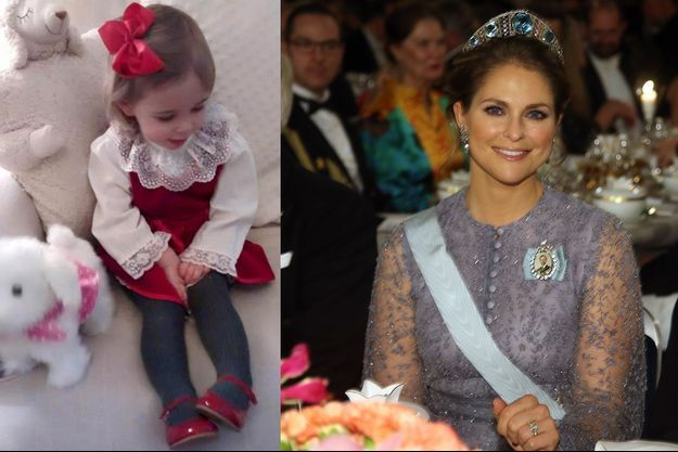 La princesse Leonore, sur la photo postée sur Facebook le 25 décembre 2015 par la princesse Madeleine de Suède. La princesse Madeleine à Stockholm le 10 décembre 2015.