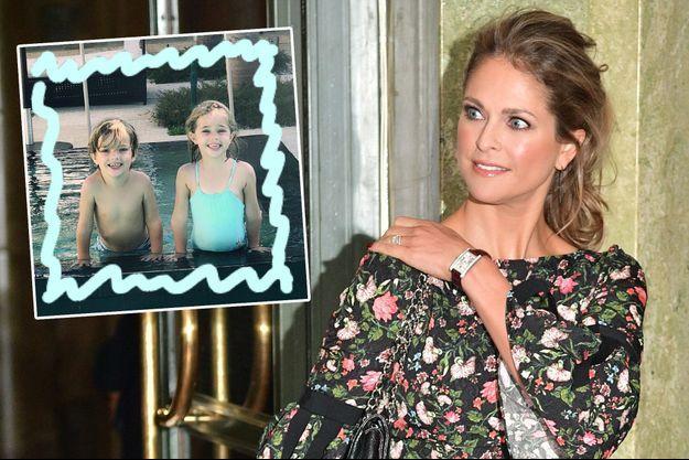 La princesse Madeleine de Suède, le 18 décembre 2018. En vignette, ses aînés, la princesse Leonore et le prince Nicolas