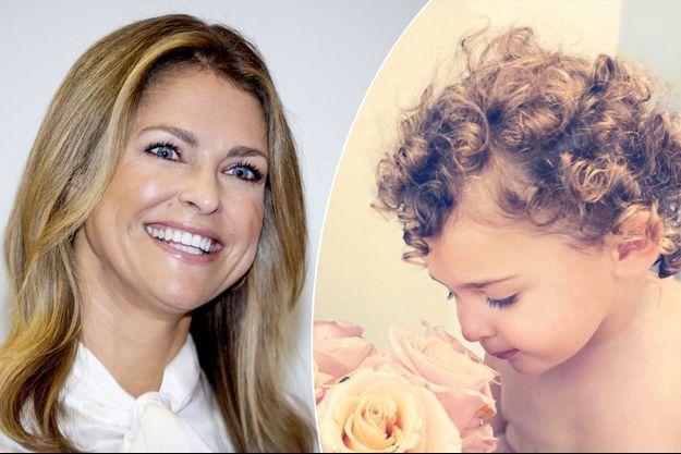 La princesse Madeleine de Suède, le 27 septembre 2019. A droite, sa fille la princesse Adrienne, photo diffusée le 10 mai 2020