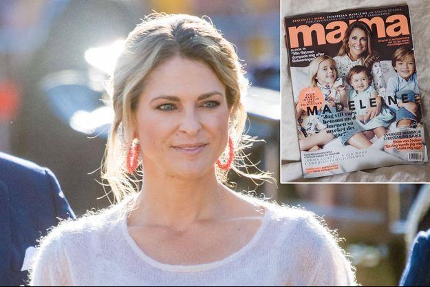 """La princesse Madeleine de Suède le 14 juillet 2019. En vignette, en couverture de """"Mama"""" avec ses enfants"""