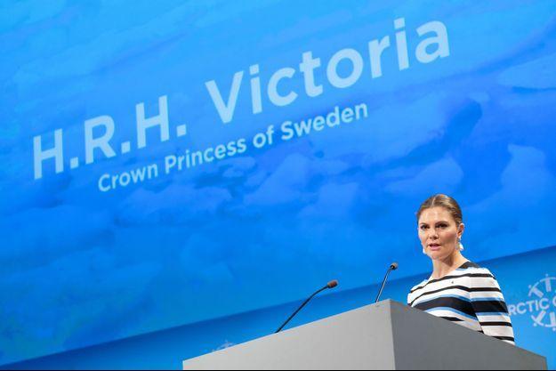 La princesse Victoria de Suède intervient à la Conférence du cercle arctique à Reykjavik, le 10 octobre 2019