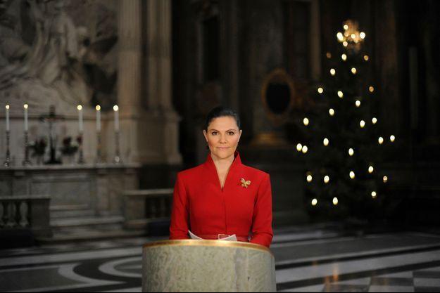 La princesse Victoria de Suède dans la chapelle royale du Palais de Stockholm, le 23 décembre 2020