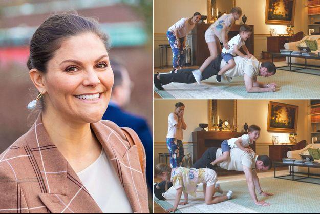 La princesse Victoria de Suède, le 29 janvier 2020. A droite, avec son mari et ses enfants, extraits de la vidéo diffusée le 30 juin 2020