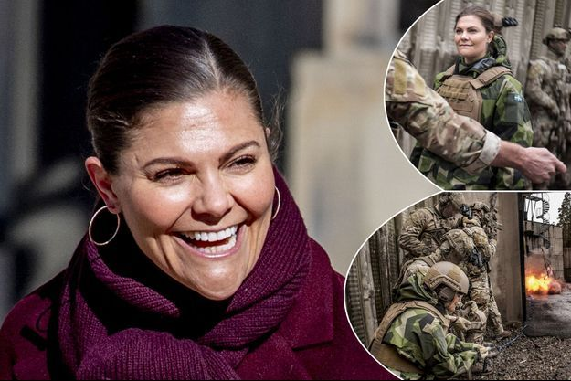 La princesse Victoria de Suède le 12 mars 2019. En vignette, avec les Forces spéciales en mars 2019