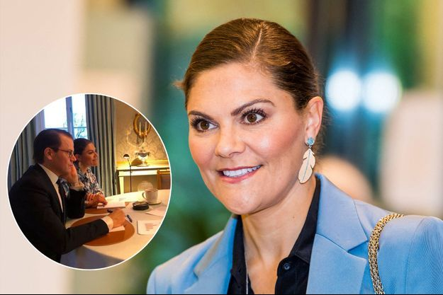 La princesse Victoria de Suède, le 22 octobre 2020. En vignette : avec son mari le prince Daniel, le 26 novembre 2020