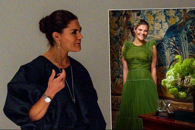 La princesse Victoria de Suède le 8 octobre 2020. En vignette, avec son prix «QX», photo diffusée le 28 février 2021