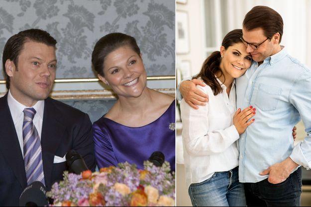 La princesse Victoria de Suède et Daniel Westling lors de l'annonce de leurs fiançailles, le 24 février 2009. A droite, la photo diffusée pour les 10 ans de ces fiançailles