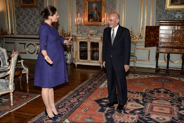 La princesse Victoria de Suède reçoit le président d'Afghanistan Ashraf Ghani au Palais royal à Stockholm, le 4 décembre 2015