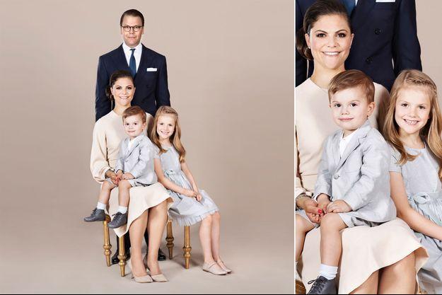 Le nouveau portrait de la princesse Victoria de Suède, du prince Daniel, de la princesse Estelle et du prince Oscar. Diffusé mi-octobre 2018