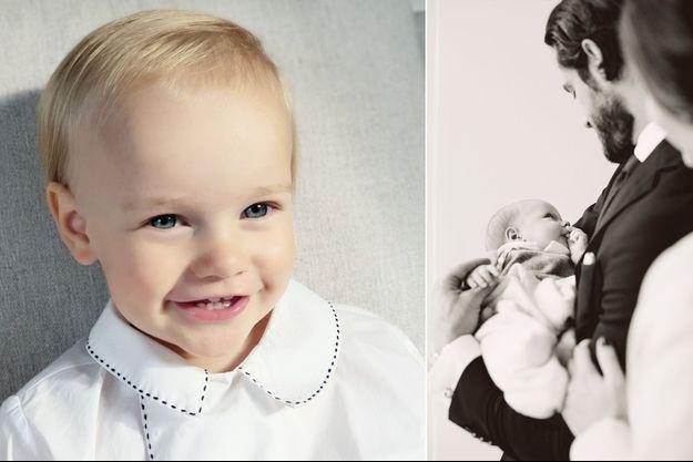 Le petit prince Gabriel de Suède. Photo diffusée pour ses 2 ans, le 31 août 2019. A droite, avec ses parents sur une photo dévoilée le 1er novembre 2017