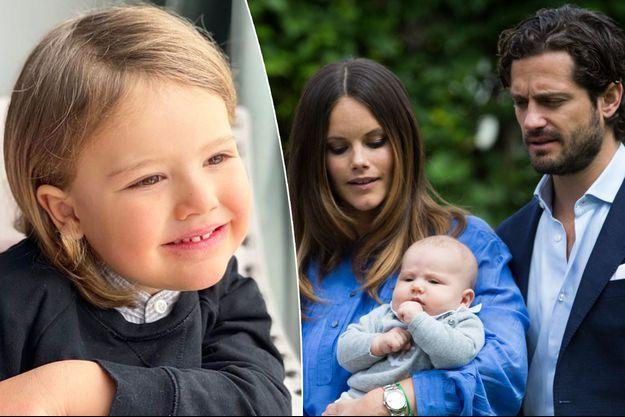 Le prince Alexander de Suède, avec ses parents le 20 juillet 2016. A gauche, photo dévoilée pour ses 4 ans, le 19 avril 2020
