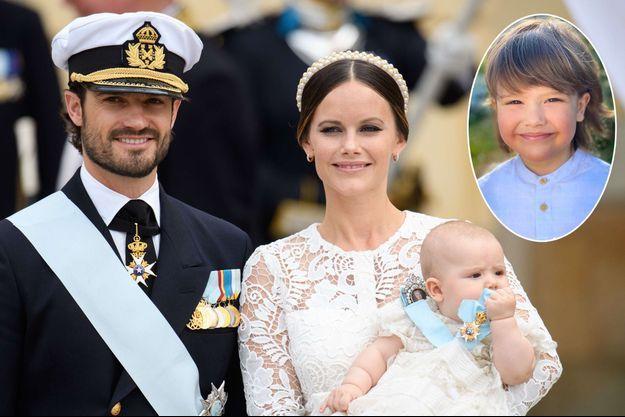 Le prince Alexander de Suède le 9 septembre 2016, jour de son baptême avec ses parents. En vignette, photo diffusée le 19 avril 2021 pour ses 5 ans