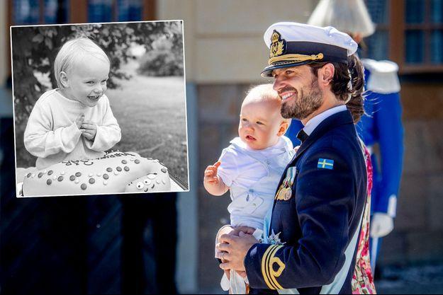 Le prince Gabriel de Suède avec son père le prince Carl Philip le 8 juin 2018. En vignette, photo publiée pour ses 3 ans, le 31 août 2020