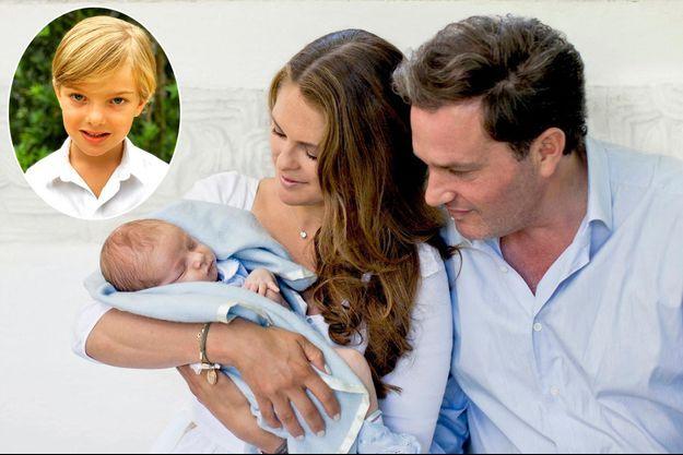 Le prince Nicolas de Suède avec ses parents la princesse Madeleine et Christopher O'Neill, le 21 juillet 2015. En vignette : portrait diffusé pour ses 5 ans, le 15 juin 2020