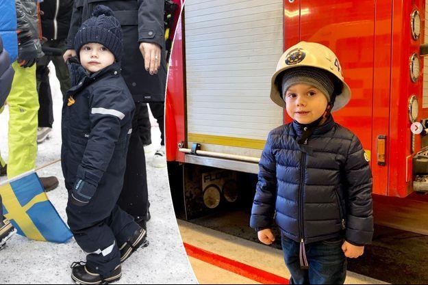 Le prince Oscar de Suède. A gauche, à Are le 9 février 2019. A droite, à Brännkyrka, dans la banlieue de Stockholm, le 15 février 2019