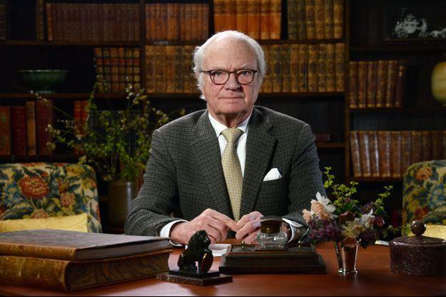 Le roi Carl XVI Gustaf de Suède lors de son discours télévisé diffusé le 5 avril 2020
