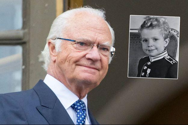 Le roi Carl XVI Gustaf de Suède, le 6 juin 2020. En vignette, enfant en uniforme du Livregementet