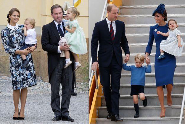 La princesse Madeleine de Suède et Christopher O'Neill avec Nicolas et Leonore - Le prince William et Kate Middleton avec Baby George et Charlotte