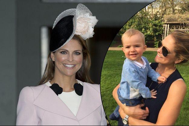 La princesse Madeleine de Suède à Stockholm, le 30 avril 2016. En médaillon, avec son fils le prince Nicolas sur Facebook