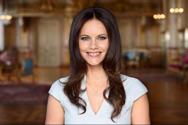 Sofia Hellqvist en avril 2015 dans la salle de la Mer Blanche au Palais royal de Stockholm où se déroulera le banquet de son mariage avec le prince Carl Philip de Suède