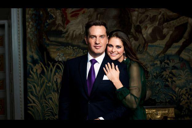 Madeleine de Suède et Christopher O'Neill à l'annonce de leur mariage.