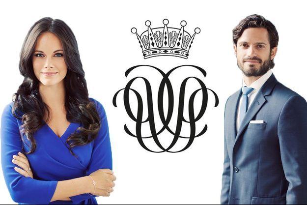 Le prince Carl Philip de Suède et sa fiancée Sofia Hellqvist et leur monogramme commun.
