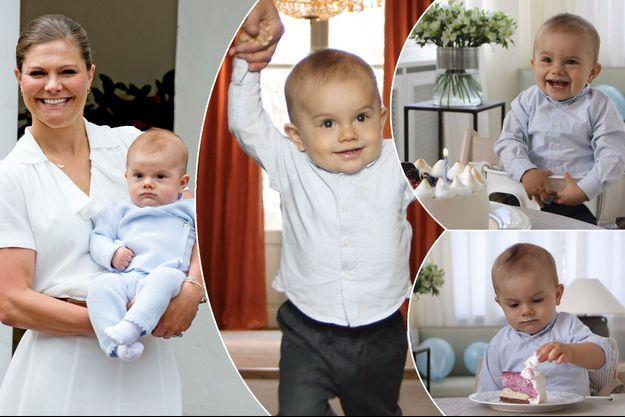 La princesse Victoria de Suède avec son fils le prince Oscar le 14 juillet 2016. A droite : photos d'Oscar le jour de ses 1 an, 2 mars 2017
