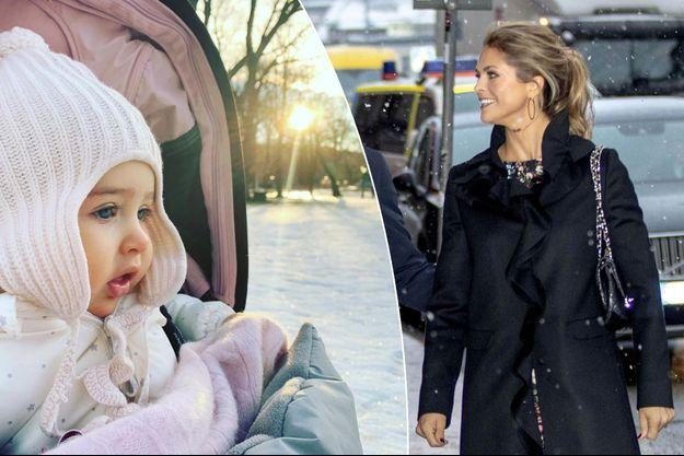 La princesse Madeleine de Suède à Stockholm, le 18 décembre 2018. A gauche, sa fille la princesse Adrienne