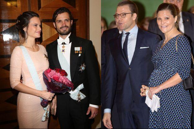 La princesse Sofia et le prince Carl Philip de Suède à Stockohlm le 23 octobre 2015 - La princesse Victoria de Suède et le prince consort Daniel à Karlstad le 18 novembre 2015