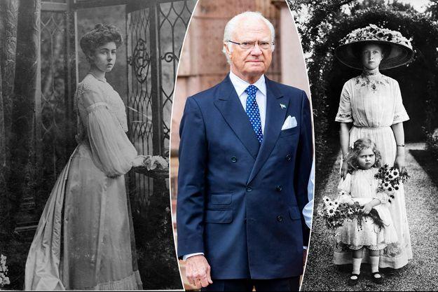 Le roi Carl XVI Gustaf de Suède, le 6 juin 2020. A gauche, sa grand-mère paternelle Margaret de Connaught, photo non datée. A droite, sa grand-mère maternelle Victoria-Adélaïde de Schleswig-Holstein et sa mère Sybilla en 1922