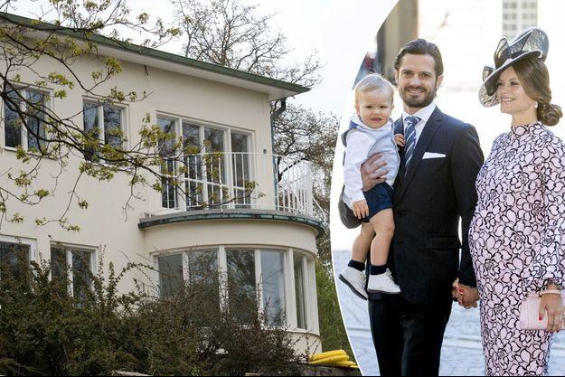 La princesse Sofia, le prince Carl Philip et le prince Alexander de Suède le 14 juillet 2017. A gauche, la Villa Solbacken à Stockholm le 17 mai 2017