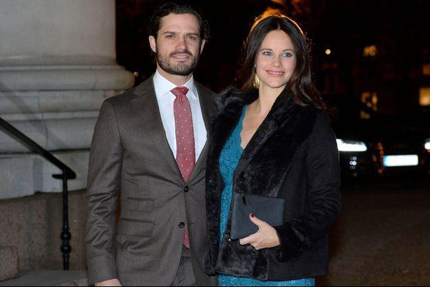 Le prince Carl Philip et la princesse Sofia de Suède à Stockholm, le 22 décembre 2015
